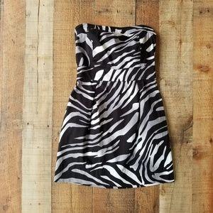 Guess Zebra Print Strapless Bodycon Mini Dress